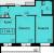 """Планировка двухкомнатной квартиры площадью 64.2 кв. м в новостройке ЖК """"До Ре Ми"""""""